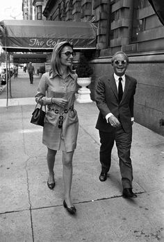 Lee Radziwill walking with Truman Capote on a Manhattan street. September 03, 1968