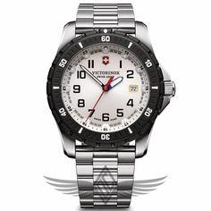 Victorinox Swiss Army Maverick Sport 43mm Steel Case White Dial Steel Bracelet Quartz Watch 241677 #OCWatchCompany #SwissArmy #WatchStore #WalnutCreek