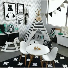 Who said black & white it wasn't for kids décor..