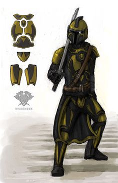 A redesign I did of the mandalorian Ason Ral'ka. Character belongs to him, not me. c: Mandalorian 03 - Ason Ral'ka Character Concept, Character Art, Character Design, Star Wars Painting, Mandalorian Armor, Star Wars Rpg, Nerd Love, Star Wars Collection, Star Wars Characters
