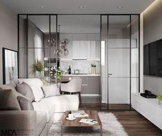 17 Ideas For Design Bedroom White Loft Condo Interior Design, Small Apartment Interior, Room Decor Bedroom, Interior Design Living Room, Living Room Designs, Design Bedroom, Small Apartment Design, Kitchen Room Design, Kitchens
