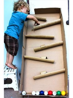 "Kids Toys Made from Cardboard Box : ""Don't just recycle those cardboard boxes and toilet paper tubes; transform them into a car wash, a castle or other cool toys and activity centers."" See more ideas at ivillage"