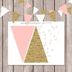 Pink and Gold Pendant Banner by papernote & co.    This listing is for a high resolution 8.5x11 Jpeg file with 3 flags per page to be cut to size!