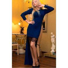 Elegant Women Patchwork Irregular Lacing Maxi Long Dress Blue