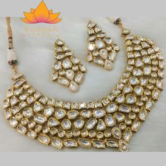 Antique Gold Kundan Necklace Set with Earrings Stones: Kundan Gold Plated *Please contact us for custom colors or to add additional jewelry pieces to this order