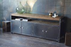 Buffet rangement industriel 4 portes bois brut acier - MICHELI Design