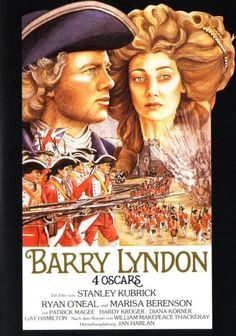 Stanley Kubrick's 'Barry Lyndon', 1975 - An Irish rogue ( Ryan O'Neal) wins the heart of a wealthy widow ( Marisa Berenson) and assumes her deceased husband's aristocratic position in 18th century England. Filmed in 1975, at 3 plus hours long, this looked like Kubrick's  opus.To many viewers the movies length; plus languid cinematography met with mixed reviews. But it was actually true to Thackeray's novel; plus many of Kubrick's scenes were like works of art - A 1970's forgotten masterpiece.