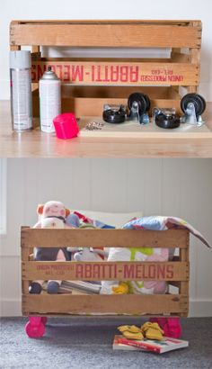 Reciclar una caja de frutas para guardar juguetes