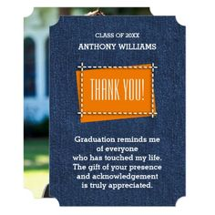 Thank You   Graduation Custom Flat Photo Cards. Typography Design with blue denim background Graduation   Graduation Ceremony   Graduation Party Thank You Photo Cards with personalized Graduate's photo, name and text. Matching Graduation Announcements , Graduation Party Invitations, Graduation Postage Stamps , Thank You Graduation Cards and other Graduation Stationery, Favors and Gift Products available in Graduation Category of the Mairin Studio store at zazzle.com