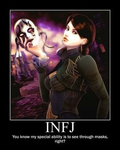 INFJ ''You know my special ability is to see through masks right' INFJ-Meyers Briggs Infj Mbti, Intj And Infj, Enfj, Infj Personality, Myers Briggs Personality Types, Personality Characteristics, Myers Briggs Infj, Infj Type, Myers Briggs Personalities