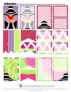 Free Printable Watermelon Planner Stickers from Victoria Thatcher