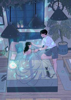 This Korean Artist Giving Serious Through His Illustration Drawing Art And Illustration, Korean Illustration, Anime Kunst, Art Anime, Cute Couple Art, Anime Love Couple, Cute Couple Drawings, Cute Drawings, Art Harry Potter