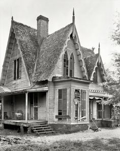 """1939. """"Knight House, Greensboro vicinity, Hale County, Alabama. Gothic Revival two-story frame built c. 1840."""""""