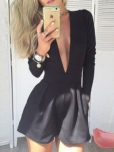 Women Black Deep V Neck Jumpsuit