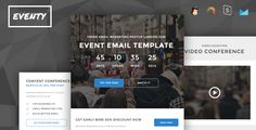 Eventy - Event Conference Responsive Email   StampReady Builder by PrimaDesign Eventy Responsive e-mail template designed for multipurpose bussines. Eventy is modern and minimalism, best to gain new clients or customers. It also have bunch of feature like stampReady e-mail template builder (drag n drop), Mai