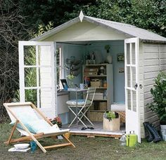 She Shed. Shed quarters. Reading Shed. Craft Shed. Backyard Play Spaces, Backyard Office, Outdoor Office, Backyard Studio, Backyard Sheds, Backyard Retreat, Garden Office, Outdoor Spaces, Garden Sheds