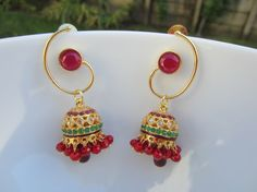 Sale 15% Off  Red and Green Stone Jhumkas Ruby Hoop by Alankaar