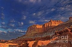 Sunset Over the Waterpocket Fold Capitol Reef National Park by Dave Welling Capitol Reef National Park, National Parks, Adventure Is Out There, Monument Valley, Utah, Sunset, Places, Vacations, Nature