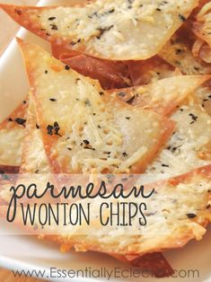 These Parmesan wonton chips are a great snack made with wonton wrappers, extra virgin olive oil, basil or rosemary, garlic, and parmesan cheese. Wonton Recipes, Appetizer Recipes, Snack Recipes, Cooking Recipes, Recipes With Wonton Wrappers, Skillet Recipes, Cooking Gadgets, Cooking Tools, Wonton Wrapper Appetizers