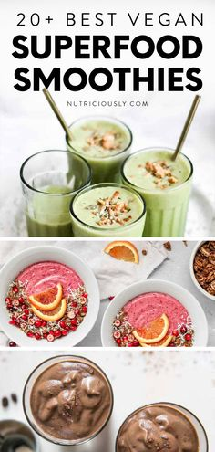 This stunning roundup of 20  easy to make, budget-friendly and healthy plant-based smoothie recipes features all the different colors! From strawberry banana smoothies to smoothie bowls and spirulina green smoothies, start your morning on a nutritious note with these superfood add-ins. We feature beautiful smoothie bowls, share the best toppings, health benefits and easy creations of dairy-free smoothies that are bursting with nutrients and flavor! Vegan Smoothie Recipes, Superfood Recipes, Raw Food Recipes, Breakfast Smoothie Recipes, Blender Recipes, Juice Recipes, Tea Recipes, Good Smoothies, Superfood Smoothies