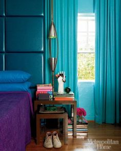 Jewel tones in the bedroom: Turquoise headboard & drapes + purple linens, from Metropolitan Home by xJavierx, via Flickr