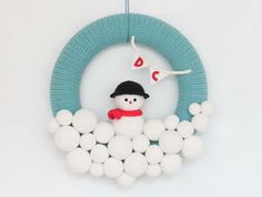 DIY Wreath with Amigurumi Snowman - FREE Crochet Pattern / Tutorial
