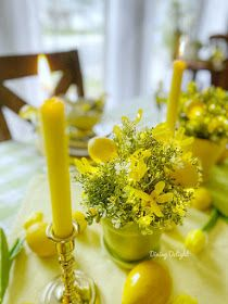 Dining Delight: Mother's Day Lemon Themed Tablescape Yellow Dinner Plates, Yellow Bowls, Mothers Day Dinner, Happy Mothers Day, Battery Operated String Lights, Grace Home, Yellow Theme, Dinner Themes, Taper Candles