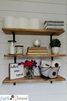 Today, I'm excited to share how we installed the new farmhouse shelves above t. Toilet Shelves, Bathroom Shelves Over Toilet, Bathroom Shelf Decor, Rustic Bathroom Shelves, Open Bathroom, Downstairs Bathroom, Bathroom Organization, Bathroom Ideas, Decorating Bathroom Shelves
