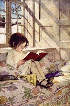 Books in Winter by Jessie Wilcox Smith.   This reminds me of myself as a girl.
