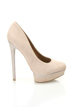 Nude Pumps with Silver Detail