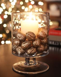 For a quick and easy indoor decoration to celebrate the holiday season, create these unique candleholders. Blogger Ashley Brown from 7th House on the Left demonstrates how to paint walnuts a festive gold to keep your home stylish all through the fall and winter. || @7thhouse