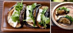 Eggplant tacos with cilantro and Brie