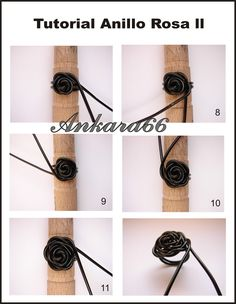 """""""Como hacer un Anillo Rosa con Cordón de Cuero."""" How to make a rose ring from leather cord. (I wonder if I could pull this off using wire in my Art Workshop class. Hmm...)"""