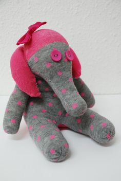 grey sock elephant, stuffed animal, personalized toy - grey with pink dots and pink bow. pink polka dots