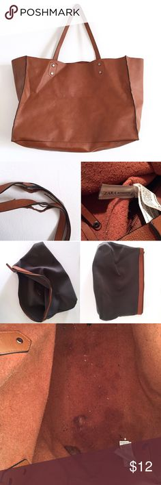 """Zara Brown Leather Tote Zara Brown Leather Tote Carry-All Bag  -16"""" x 11.5"""" -100% Leather -Removable Inner Pouch -In good/ok condition with scuffs/marks and wear throughout.  Wear at top straps.  See photos.  ⚡️No Trades⚡➕Offers Accepted➕ Zara Bags Totes"""