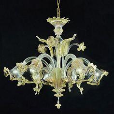 Ca'Venier 5 lights golden amber Cristalleria Murano…
