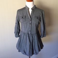 Buttoned Peplum Tunic Cute top over leggings or jeans. :) Navy and gray stripes. Never worn. Just in need of some tlc from an iron. :) Adjustable sleeves for desired length/look. Feel free to make an offer or bundle for additional discounts! :) Tops