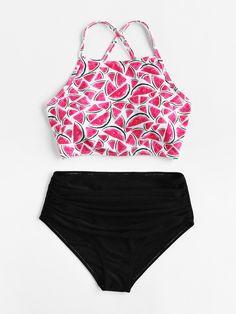 ¡Cómpralo ya!. Watermelon Print Ruched Bikini Set. Multicolor Bikinis Cute Sexy Vacation Push Up Polyester YES Swimwear. , bikini, bikini, biquini, conjuntosdebikinis, twopiece, bikini, bikini, bikini, bikini, bikinis. Bikini de mujer color rosa de SheIn.
