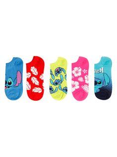 <p>Five pairs of no-show socks from Disney with <i>Lilo and Stitch</i> themed designs.</p> <ul> <li>One size fits most </li> <li>90% polyester; 2% spandex </li> <li>Wash cold; dry low </li> <li>Imported </li> </ul>