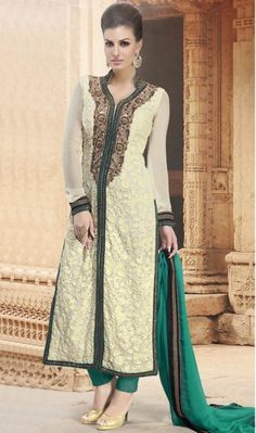 Lovely Cream Georgette Designer Pant Style Suit Lovely cream georgette pant style suit with embroidery, resham, zari, lace and patch border work.