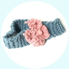 Knitted Light Blue and Light Pink Headband With Flower Decoration, Pastel Colored Hairband, Knit Hair Accessory for Women, Flower Hair Piece by NiftynNeedlin on Etsy