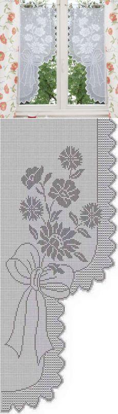 Занавеска с филейным узором. Вязаные шторы для дачи | Домоводство для всей семьи.
