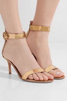 Gianvito Rossi - Portofino 70 metallic leather sandals - #metallicleather - Gianvito Rossi - Portofino 70 metallic leather sandals... Leather Espadrilles, Leather Loafers, Leather Sandals, Leather Boots, Block Heel Loafers, Heeled Loafers, Gold Ballet Flats, Leather Ballet Flats, Black Pumps Heels