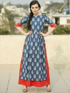 Red and Blue Block Print Double Layered Long Kurti Indian Fashion Designers, Indian Designer Wear, Layered Kurta, Kurti Patterns, Kurta Designs, Dress Designs, India Fashion, Women's Fashion, Indian Dresses