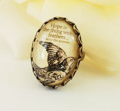 Steampunk Hope Ring Emily Dickinson Bird Antique by BellaMantra, $19.00