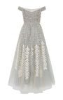 This **Bibhu Mohapatra** dress features a straight across off the shoulder neckline, embroidered detail, and a pleated tulle skirt with an ankle length hemline.