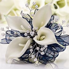 Twilight Prom Corsage | White Calla Lilies with Pearl Sprays and Blue Glitter Ribbon