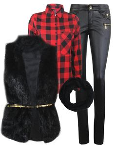 Buffalo plaid and fur vest