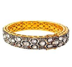Rose Cut Diamond Jewelry 14K Gold Vintage Style Bangle Silver Bracelet Jewelry #Handmade