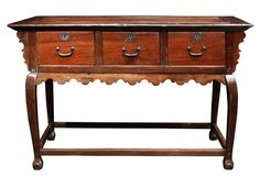 Altar Table With Three Drawers, c. century (Balayong, Molave and Brass) Ilocos, Brass Handles, Altar, Antique Furniture, Plank, 18th Century, Entryway Tables, Drawers, Antiques